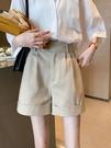 優雅女神短褲女2021夏裝新款高腰休閒寬鬆a字闊腿褲卷邊西裝熱褲 果果輕時尚