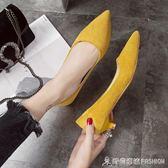 鞋子女秋季新款淺口女鞋高跟鞋尖頭絨面黑色低跟單鞋女工作鞋 時尚潮流