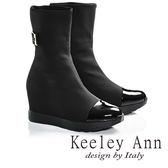 ★2016秋冬★Keeley Ann摩登金屬釦帶彈性布拼接內增高短靴(黑色)  -Ann系列