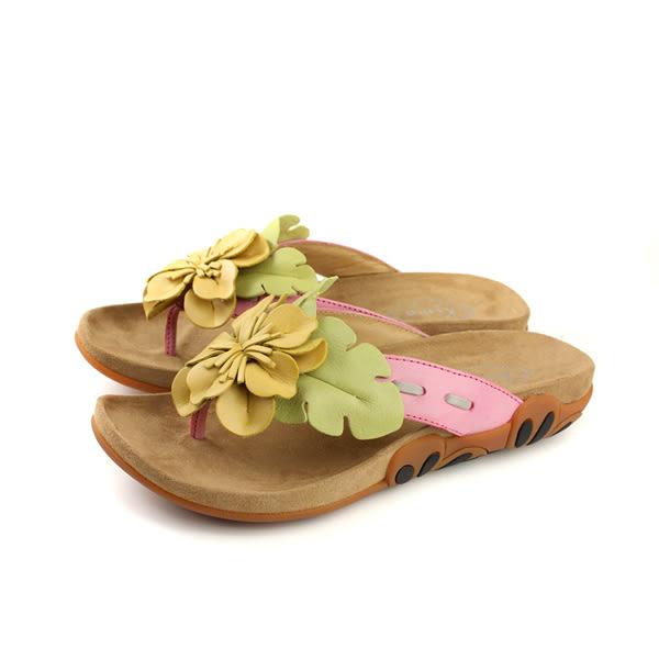 Kimo 夾腳拖鞋 花朵 女鞋 黃色 K18SF041117 no748