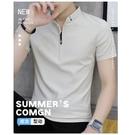 男士短袖t恤立領夏季薄款冰絲男裝2021新款純棉潮流休閒polo衫男 黛尼時尚精品
