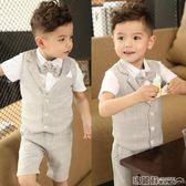 禮服 兒童禮服男童小主持人服裝夏天男孩鋼琴表演出服套裝花童婚禮西裝  瑪麗蘇