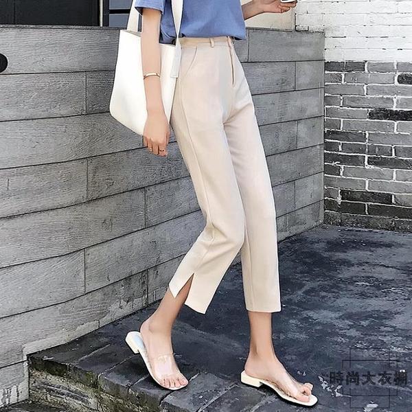 哈倫褲西裝褲女直筒寬鬆顯瘦開叉煙管褲九分休閒薄款夏季【時尚大衣櫥】
