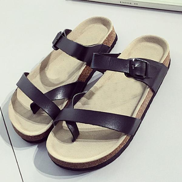 【Jingle】時尚男女情侶款簡約季節軟木涼拖鞋(黑色白色虹彩3色全尺碼)