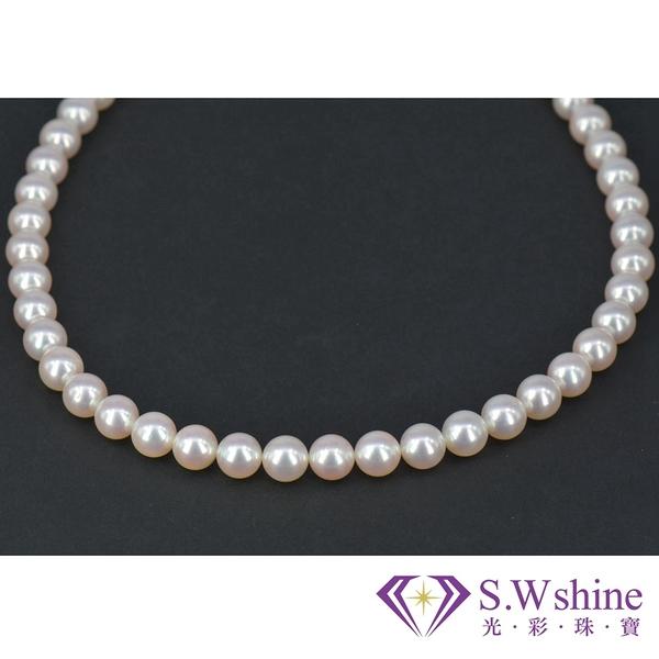 【光彩珠寶】日本頂級雪白珠~無調色極光天女珍珠項鍊
