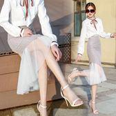 一步裙 中長款女夏2018新款網紗不規則一步裙高腰裙LJ8162『miss洛羽』