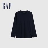 Gap男裝 簡約風格純色長袖T恤 660824-海軍藍