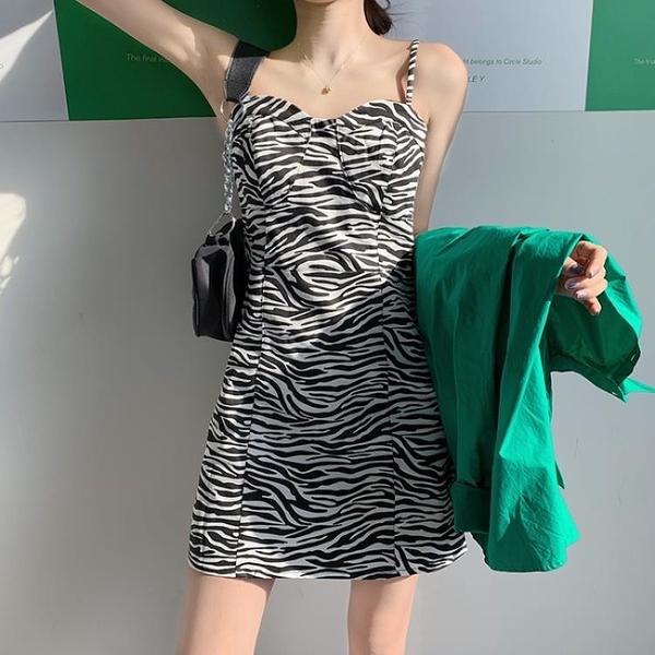 連身裙 斑馬紋吊帶洋裝女裝秋冬季裙子2020新款洋氣法式內搭打底裙-年終穿搭new Year