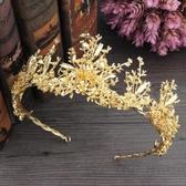 限定款新娘造型結婚皇冠全金色合金王冠髮飾秀禾服王冠結婚紗禮服頭飾配飾品