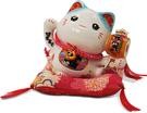 【金石工坊】健康萬歲元氣貓(高8.5CM)招財貓 陶瓷開運桌上擺飾 撲滿存錢筒
