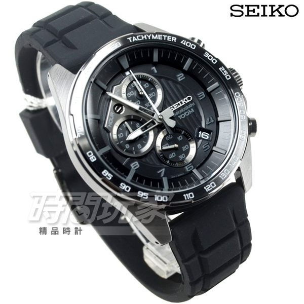 SEIKO 精工錶 強悍個性 運動休閒腕錶 男錶 三眼多功能計時碼錶 IP黑電鍍 日期 SSB327P1-8T67-00H0SD