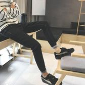 正韓牛仔褲子男修身直筒褲學生黑色褲寬鬆青年休閒褲九分小腳褲潮 [完美男神]