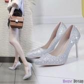 高跟鞋 水晶婚鞋網紅法式少女高跟鞋女性感細跟婚紗伴娘尖頭亮片單鞋銀色