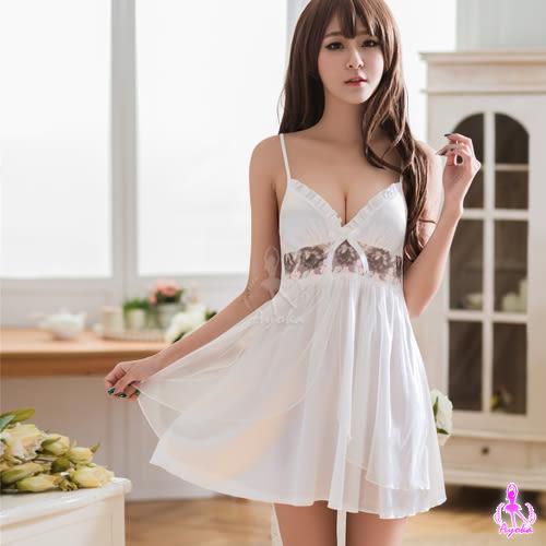性感睡衣 白色深V雙層刺繡睡衣  (OS小舖)