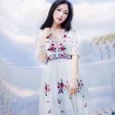 長洋裝 波西米亞風-優雅繡花性感低胸女連身裙73mw12[巴黎精品]