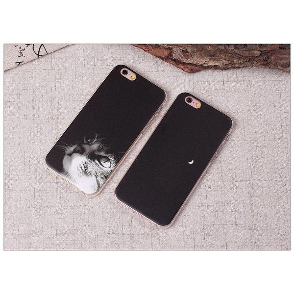 iPhoneX手機殼 可掛繩 貓咪賞上弦月 浮雕軟殼 蘋果iPhone8X/iPhone7/i6/5s