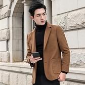 毛呢外套-保暖防皺簡約休閒羊毛男西裝3色73yu4[巴黎精品]