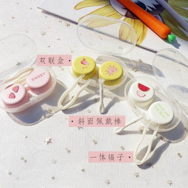 全館83折 eyekan隱形眼鏡盒網紅可愛透明美瞳伴侶雙聯護理收納盒