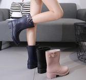 雨鞋女韓國可愛水鞋中筒秋冬時尚防水鞋套鞋防滑膠鞋戶外成人雨靴