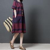 棉麻顯瘦配條洋裝-中大尺碼 獨具衣格 J2553