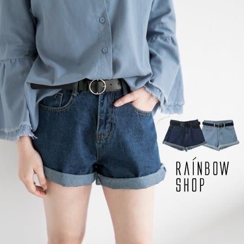 捲邊褲管高腰牛仔短褲-P-Rainbow【A015205】