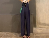 韓版薄款純色減齡寬松吊帶休閑褲夏裝顯瘦闊腿連體褲女長褲