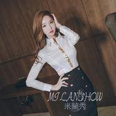 韓版2017秋季長袖上衣 職業OL通勤氣質翻領名媛修身顯瘦白襯衫 米蘭shoe
