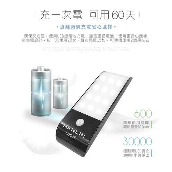 【網特生活】HANLIN-LED16 磁吸USB充電人體感應燈.衣櫃櫥櫃酒櫃鞋櫃LED電池充電