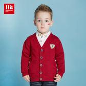 JJLKIDS 男童 歐洲紳士條紋針織外套(狀元紅)