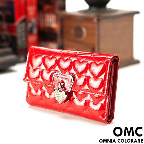 OMC - 奢華亮面真皮款心鑽三折式中夾-豔麗紅