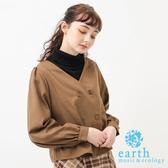 ❖ Autumn ❖ 雙排扣設計V領上衣 - earth music&ecology