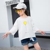 女童t恤七分袖童純棉中袖上衣兒童5寬鬆短袖