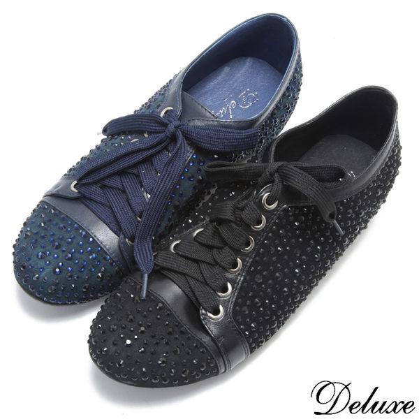 Deluxe-全真皮滿天星燙鑽綁帶休閒鞋-藍-黑