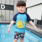 男童泳衣兒童分體小海豚寶寶男孩幼兒三件套泳裝2-12歲游泳衣套裝