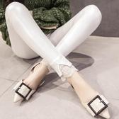 皮褲女2020新款薄款白色打底褲高腰秋冬外穿蕾絲拼接亮光褲子女式