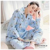 Catworld 兔子公爵。產後月子哺乳加厚鋪棉睡衣兩件組【16600232】‧M/L/XL