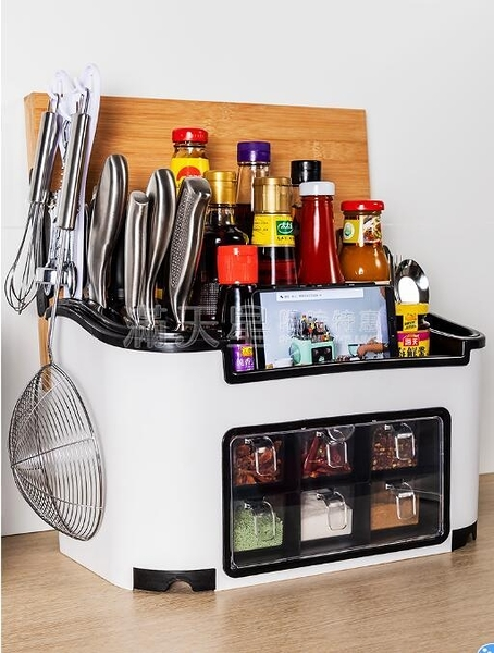置物架 刀架廚房置物架調料調味瓶架子用品家用大全神器調味盒筷子收納盒 NMS滿天星