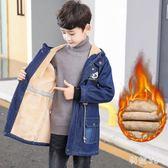 中大尺碼男童外套 加絨牛仔外套秋冬裝新款兒童加厚風衣中長款秋冬季 js21036『科炫3C』