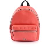 【COACH】鉚釘皮革口袋後背包(小)(粉橘色) F45070 SVCO