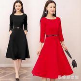 中袖小禮服2018新款女裝修身裙子復古赫本小紅裙洋裝小禮服 QG9025『樂愛居家館』
