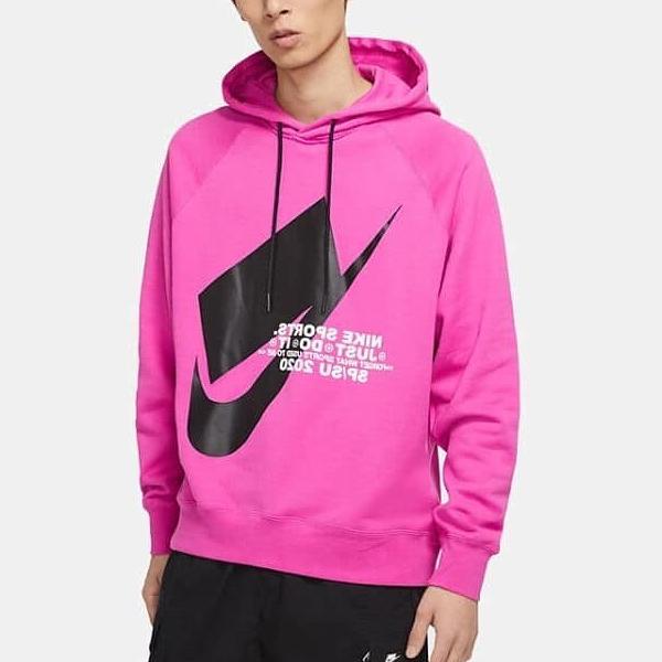 Nike Sportswear 男裝 上衣 連帽 帽T 休閒 logo 純棉 寬版 桃紅【運動世界】CJ5049-623