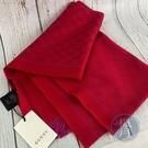 BRAND楓月 GUCCI 古馳 411115 桃紅色 經典 GG紋 羊毛 流蘇 圍巾 披巾 配件