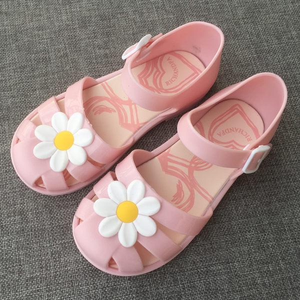 包頭羅馬童涼鞋寶寶兒童包跟果凍鞋小花果凍鞋軟底沙灘玩水涼鞋女
