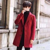 刷毛外套秋冬新款男風衣中長款韓版呢子大衣bf風情侶毛呢男女披風 陽光好物