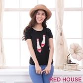 【RED HOUSE 蕾赫斯】珍珠鞋子短袖針織上衣(黑色)