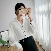 2020春裝新款長袖寬鬆白色雪紡襯衫正韓時尚複古小心機洋氣上衣女