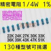 精密電阻 1/4W 1% 22K24K27K30K33K36K39K43K47K51K [1000電世界]