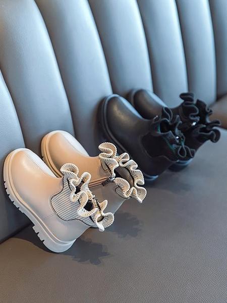 馬丁靴 女童馬丁靴2021秋冬季新款小女孩木耳邊公主短靴韓版加絨保暖棉靴 歐歐