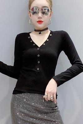 短版上衣 修身長T 長袖T恤5191#歐洲站秋裝修身洋氣百搭鉚釘打底小衫T恤女潮H466依佳衣