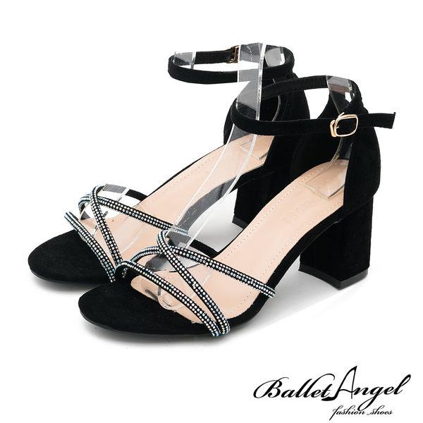 涼鞋 輕奢女神鑽飾繫踝粗跟涼鞋(黑)*BalletAngel【18-722bk】【現貨】